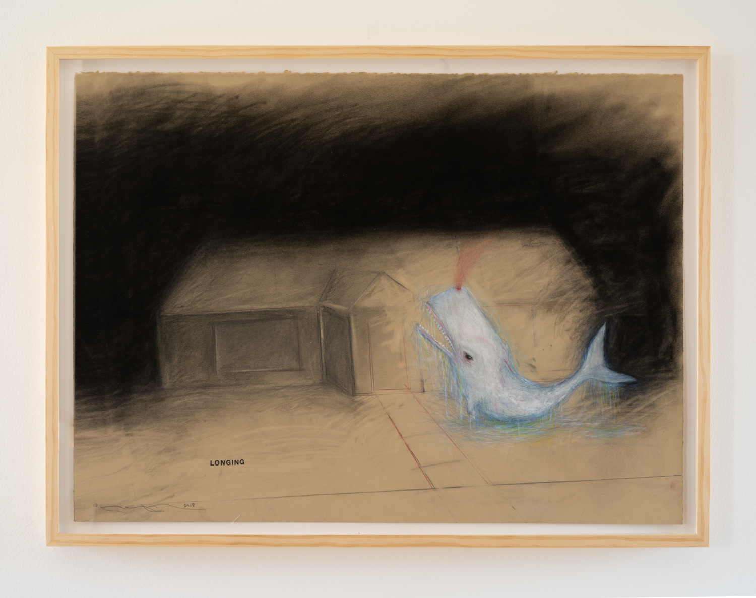 Terry Allen Study for 'Song for Kippy', 2019 graphite, pastel, gouache, colored pencil, press type, collage 24.75 x 32.75 x 1.5 in.