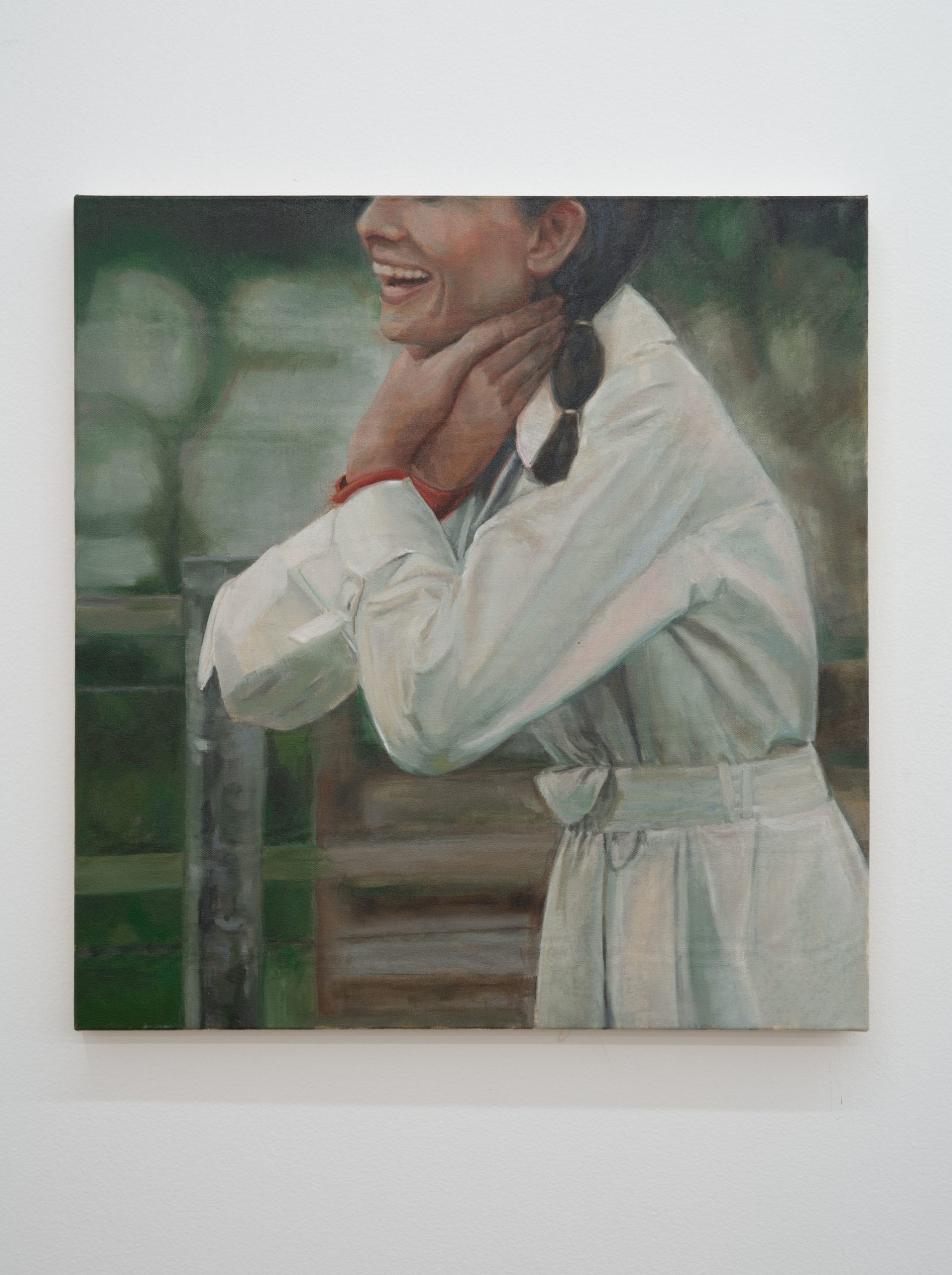 Shannon Cartier Lucy, Woman in Trenchcoat , 2019, oil on canvas, 25 x 24 in.
