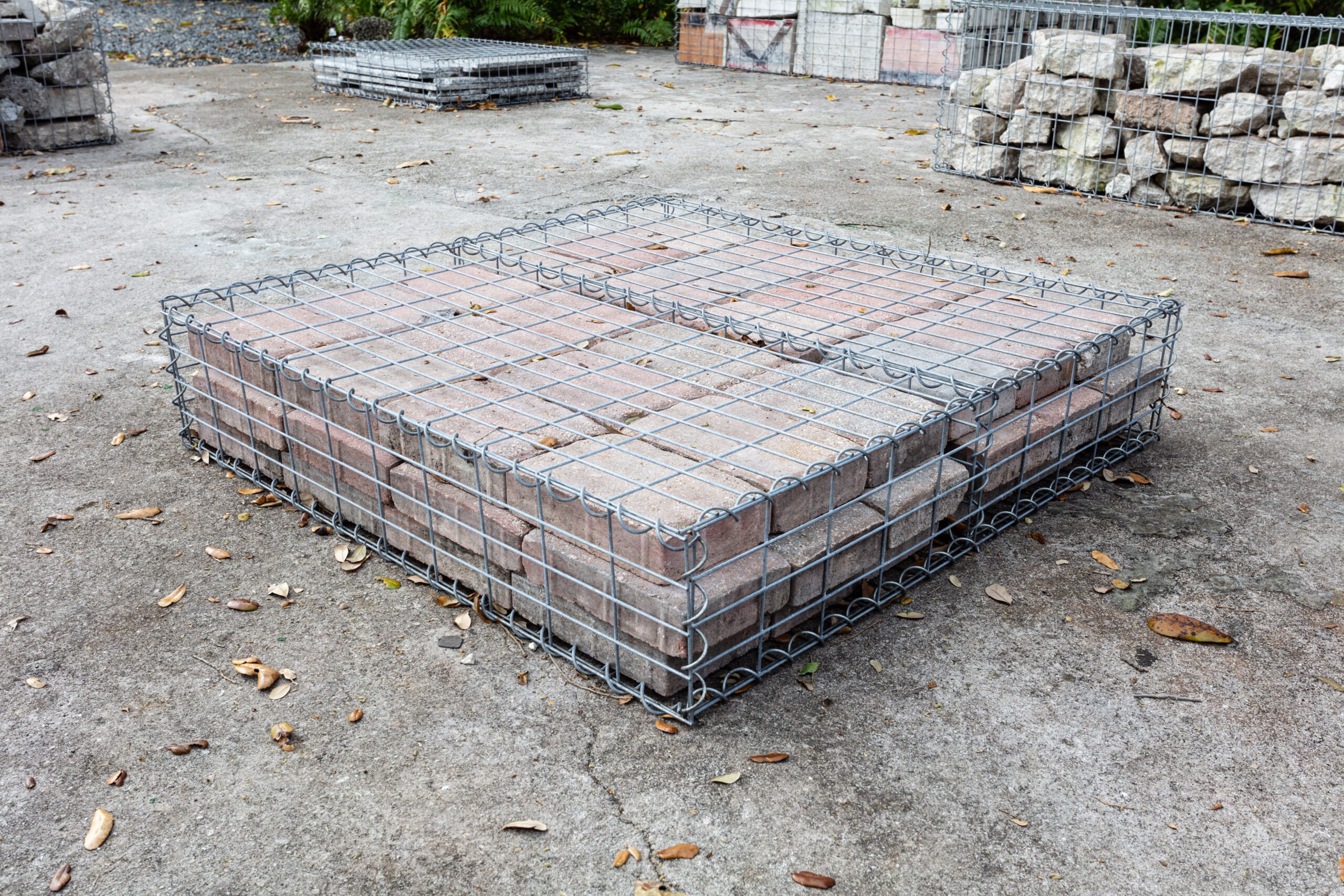 Tom Scicluna, 33190, 2021, gabion cages and concrete pavers, 9 x 40 x 40 in.