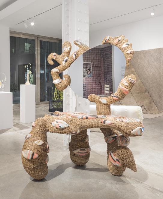 Katie Stout, Vanity, 2020, handwoven wicker, ceramic, wood, mirror, metal, 69 x 56 x 31 in.