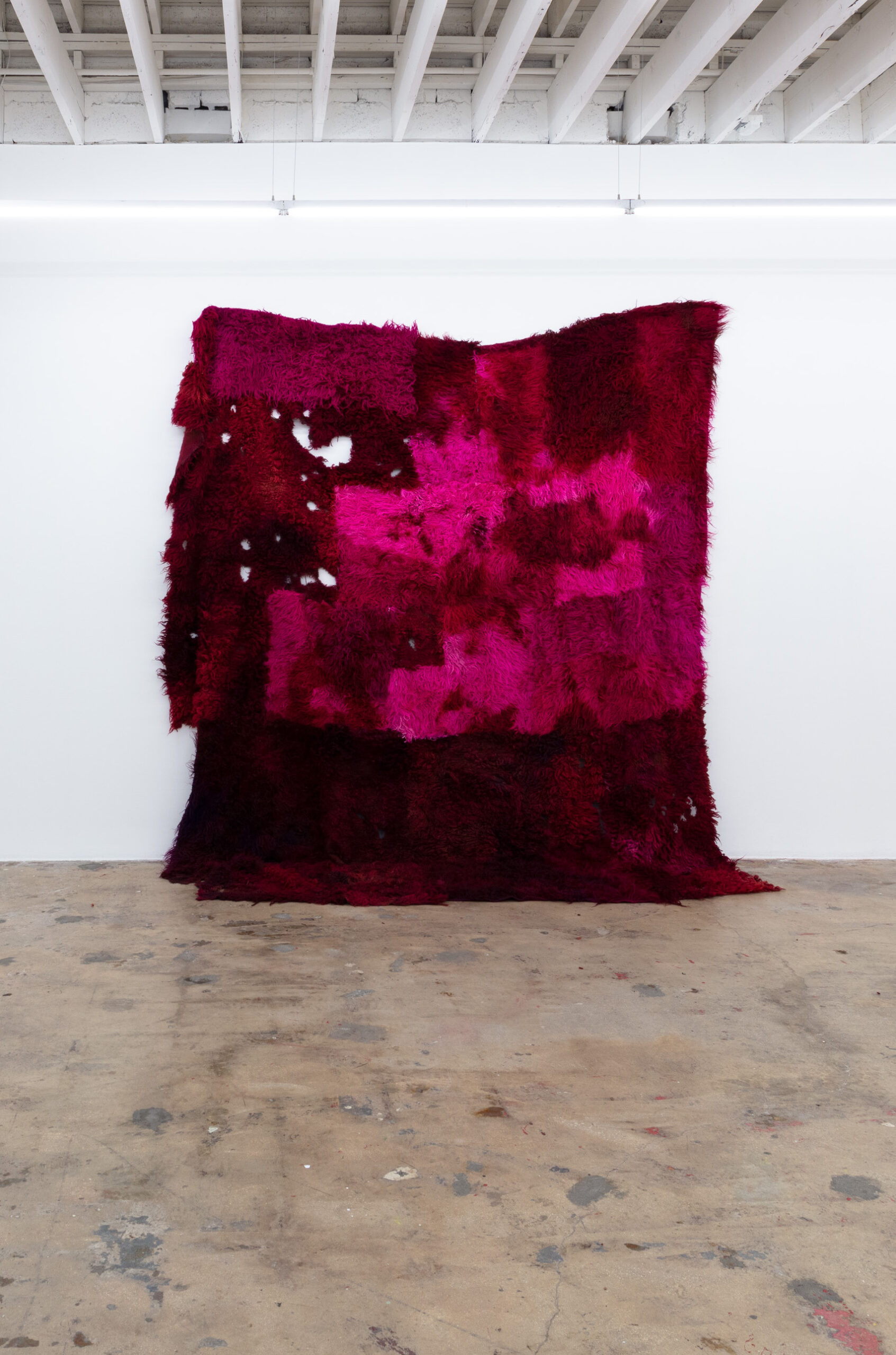 Anna Betbeze, Untitled (Ripe), 2021, wool acid dyes, ash from burning, 139 x 120 in.