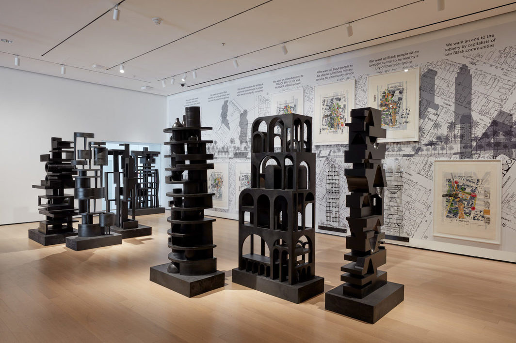 """Germane Barnes, Installation view of """"Reconstructions: Architecture and Blackness in America,"""" at The Museum of Modern Art, New York. Photo: Robert Gerhardt."""