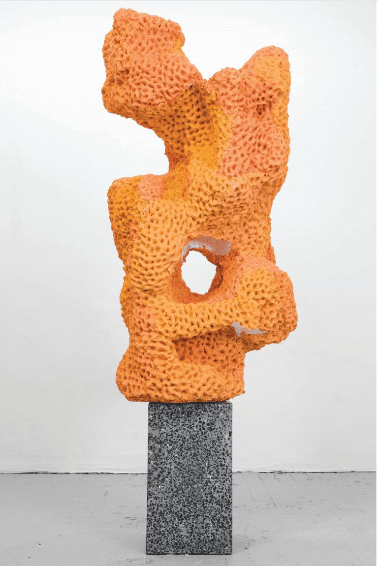 Nicolas Lobo, Napalm stone (bronzer version #1), 2014, napalm, play-dough, terrazzo, spray bronzer